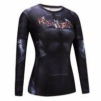 النساء أنيمي باتمان باري ألين 3d المطبوعة القمصان ضغط قميص ياقة سيدة crossfit طويل كم t-shirt ماركة الملابس