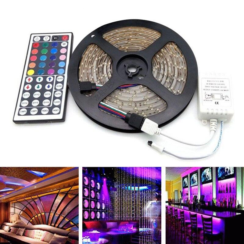 Ultrabrillante impermeable 5 M RGB 300 US/EU/UK/au LED Luz de tira 3528 SMD 44 clave remoto 12 V potencia Kit-M25