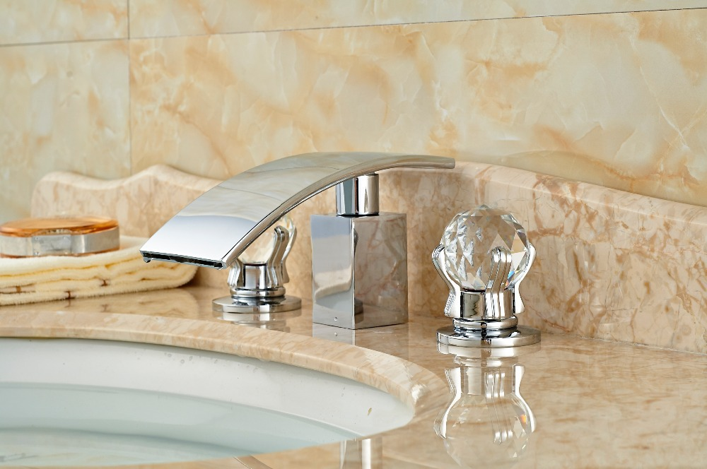 Crystal Handles Waterfall Bathroom Basin Faucet Double Handles 3 Holes Mixer Tap polished chrome waterfall dual handles 3 holes bathroom faucet basin mixer tap