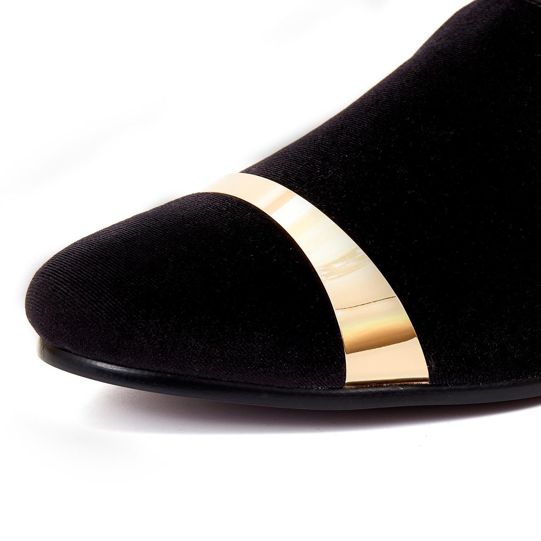 64f415e1ee09 Harpelunde Slip On Men Dress Shoes Black Velvet Loafers With Gold Plate Handmade  Flat Shoes Size ...