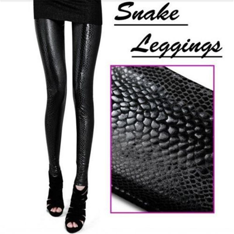 Stylish Vogue Women Snake Print Leggings Sexy Solid Rock Skinny Slim Stretch Pants Trousers S4