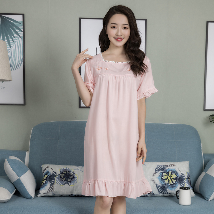 Pink 2019 New Summer Short Solid Knee-Length Nightdress Square Collar Spring Embroidery   Nightgowns   Casual Sexy   Sleepshirts   L XL