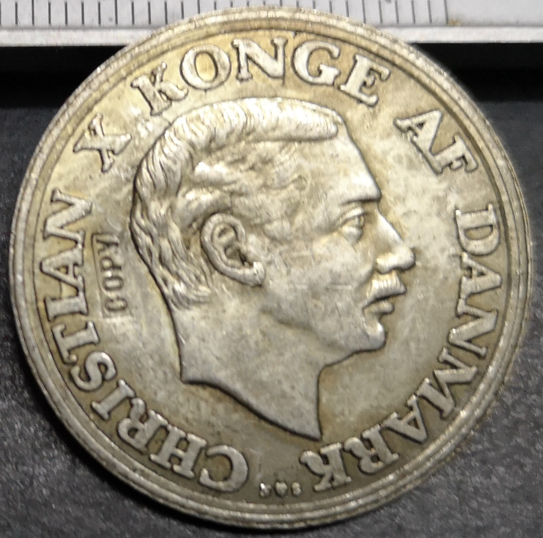 <font><b>1937</b></font> Denmark 2 Kroner-Christian X (Silver Jubilee of Reign) Silver Plated <font><b>Coin</b></font> Copy image