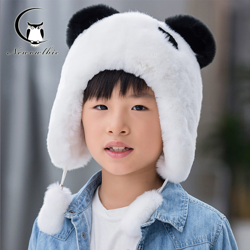 ФОТО 2016 Panda Design Fur Hat Children Rex Rabbit Fur Hat Cute Hats For Kids Good Quality Nature Rabbit Fur Caps Hat For Boys Girls