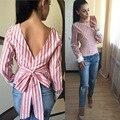 Primavera Otoño Las Mujeres De Lino Blusa de La Manera Camisa de Las Señoras de Manga Larga Backless Sexy Rayas Blusas O-cuello Femininas A875