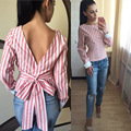Primavera Outono Mulheres Blusa Moda Manga Comprida Backless Camisa de Linho Senhoras Sexy Listrado Colheita Tops O Pescoço Blusas Femininas A875