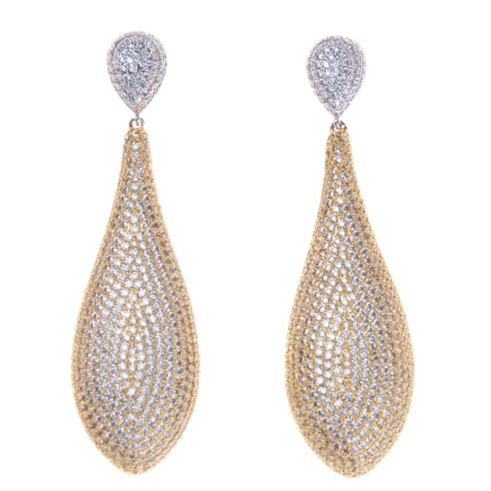 SLJELY Luxury Popular Water Drop Earrings Paved Crystal Zircon Naija Wedding Silver Gold Earring Fashion Jewelry