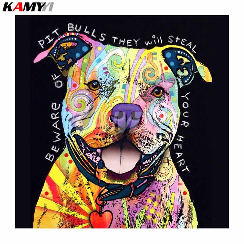 Diamond Embroidery Beware Of Pit Bull Diy Diamond Painting Full Square Diamond Mosaic Embroidery  Home Decoration Painting  NMX