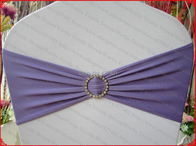 Attractive Lavender Single Layer Spandex/Lycra/Expand BandS/Chair Covers With Round  Diamond Buckle