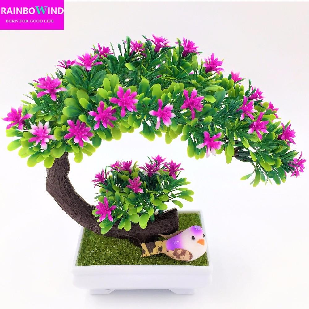 2017 New arrival Artificial decorative flowers wreaths plants tree flower bonsai fake flowers pine trees Komatsu flower vase
