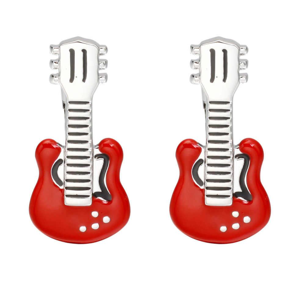 Модные французские Свадебные Запонки мужские милые красные запонки «гитара» уникальная Личная рубашка Запонки бижутерия оптом