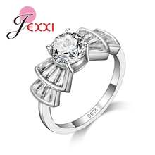 JEXXI Pretty Luxury Bow Jewelry Fashion Elegant 925 Sterling Silver Rings For Women Wedding Party White