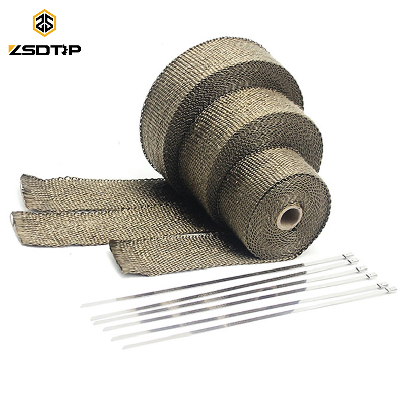 ZSDTRP 5cm*5M 10M 15M Titanium/Black Exhaust Heat Wrap Roll for Motorcycle Fiberglass Heat Shield Tape with Stainless Ties(China)