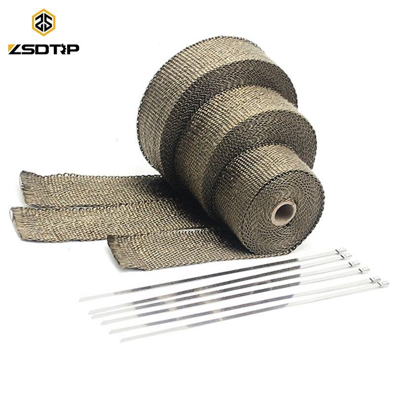 ZSDTRP 5cm * 5M 10M 15M titane/noir rouleau de bandeau thermique d'échappement pour moto en fibre de verre ruban de bouclier thermique avec liens en acier inoxydable