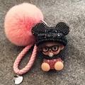 Bling медведь голову брелок кристалл Monchhichi Monchichi кукла брелок персик розовый пушистый помпон сумка шарм сумка ошибка кожаный ремешок ключевых
