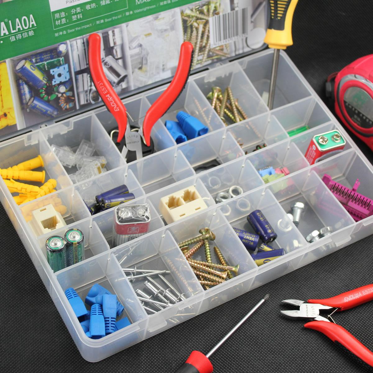Daugiafunkcinis 24 langelių plastikinių elementų dėžutė La911275 dėžutė, kurioje yra dėžutė 272 * 185 * 43mm