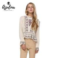 AZULINA Blouses Shirts Vrouwen Borduren O Hals Blouse Casual Vintage Etnische Katoen Dames Tops Blusas Meisjes Kleding