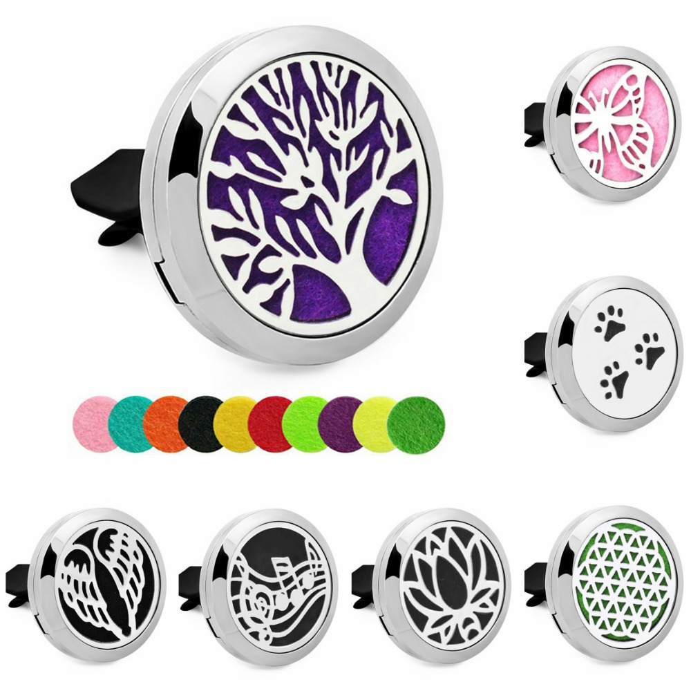 10pcs lot Tree of life wing Essential Oil Aroma Locket Car Diffuser Vent Clip Stainless Steel