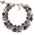 Europa e EUA Big moda mulheres colares bib colar & pingente de vidro de Cristal do vintage declaração de luxo colar de jóias por atacado