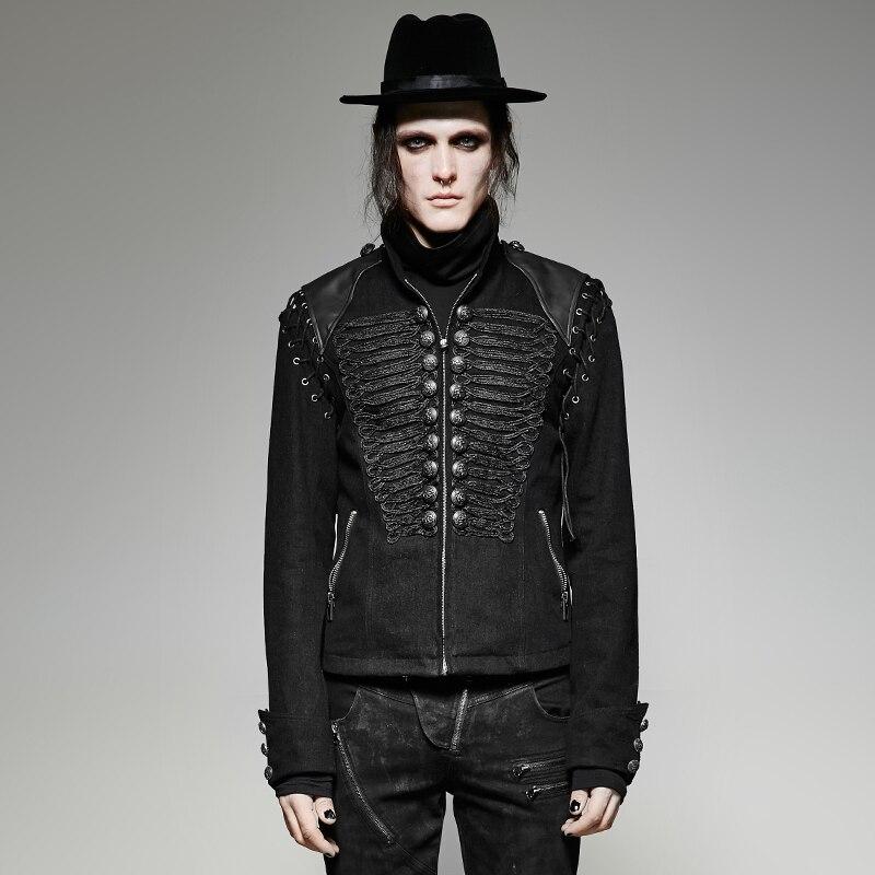 Стимпанк Стиль Для мужчин военная форма Короткое пальто куртка стимпанк Винтаж кожаная куртка пальто