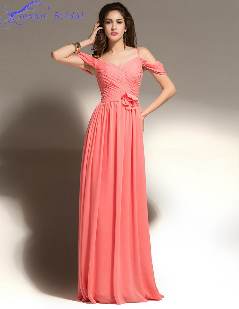 buy vestidos de madrinha coral colored bridesmaid dresses chiffon long. Black Bedroom Furniture Sets. Home Design Ideas