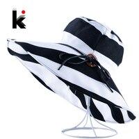 Women S Wide Brim UV Protection Beach Hats Stripe Bowknot Button Summer Sun Visor Caps For