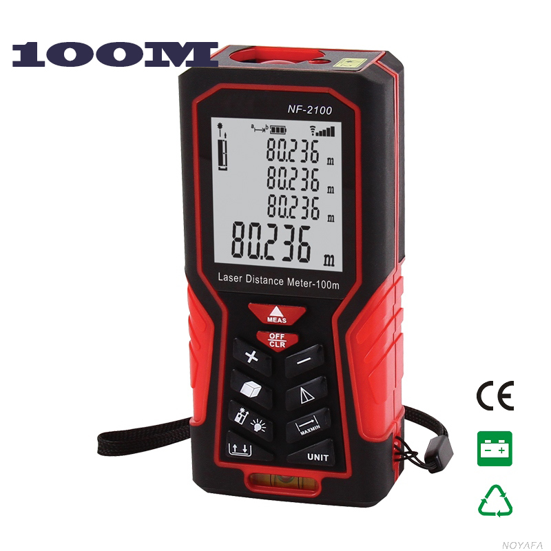 ФОТО 100M Laser distance meter Digital Laser range finder  Bubble LevelMeasure Distance/Area/volume Angle Laser tape Lofting function