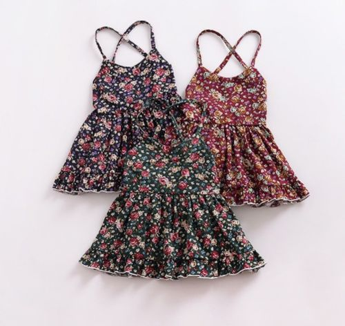 High Quality Baby Kids Girls Braces Floral Straps Suspender Backless Flower Dresses Summer 6M-4T