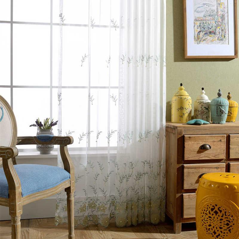 Вышитый весенний цветочный очаровательный с жемчугом белый текстиль тюль для столовой спальни оконные шторы WP268D