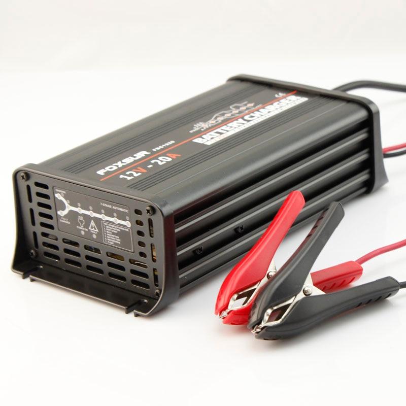 FOXSUR 12V 20A 7-stage smart Lead Acid <font><b>Battery</b></font> Charger, Car <font><b>battery</b></font> charger, MCU controlled, pulse charge For SLA,AGM,GEL,VRLA