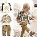 3 PCS moda primavera outono meninos roupas urso dos desenhos animados t-shirt + xadrez de manga comprida camisa xadrez + calças Outfit Set 1-6a