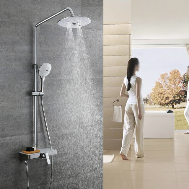 Hideep Bath Shower Set Bathroom Mixer Faucet Rain Tap Head Rainfall