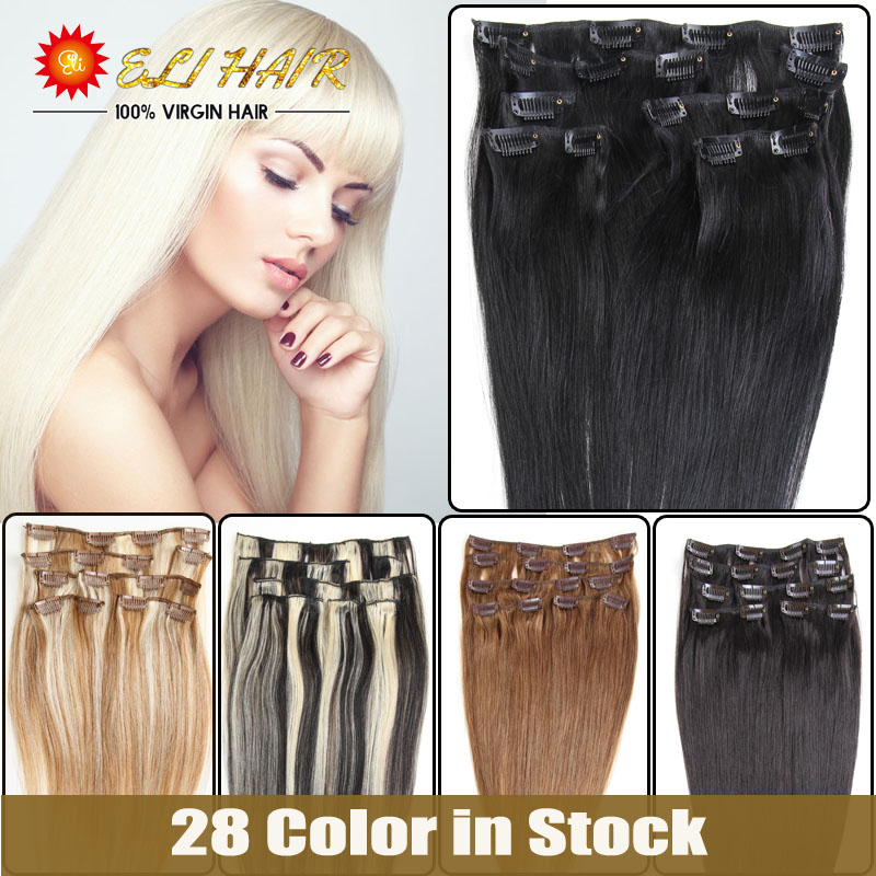Brazilian Virgin Straight Hair Double Weave Clip Ins/ON Human Hair Extensions Umi Queen Blue Red Color Double Weft Hair