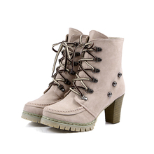 A11 plus size35-43 winter warm women botines mujer platform round toe lace up booties sexy high heels snow ankle lita boots