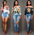 Mujeres de Slash Cuello de La Blusa de Estampado floral Sexy Crop Top Loose Recortada Tee Casual Ropa Mujer Blusas Feminino Ropa Barata de China