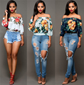 Mulheres de Slash Neck Blusa Print Floral Sexy Top Colheita Solto Cropped Tee Casual Blusas Feminino Roupas Baratas China Ropa Mujer