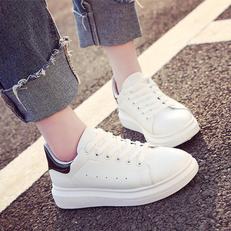 2018 Fashion Breathble Vulcanized Shoes WomenPlatform Shoes Women Lace up Casual Shoes White sneaker