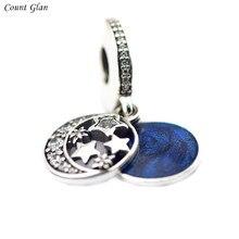 Perlas Adapta Pandora Charms Pulseras de Perlas Para La Joyería de La Vendimia Noche Brillante Cielo Azul Medianoche Esmalte Claro CZ Cuentas