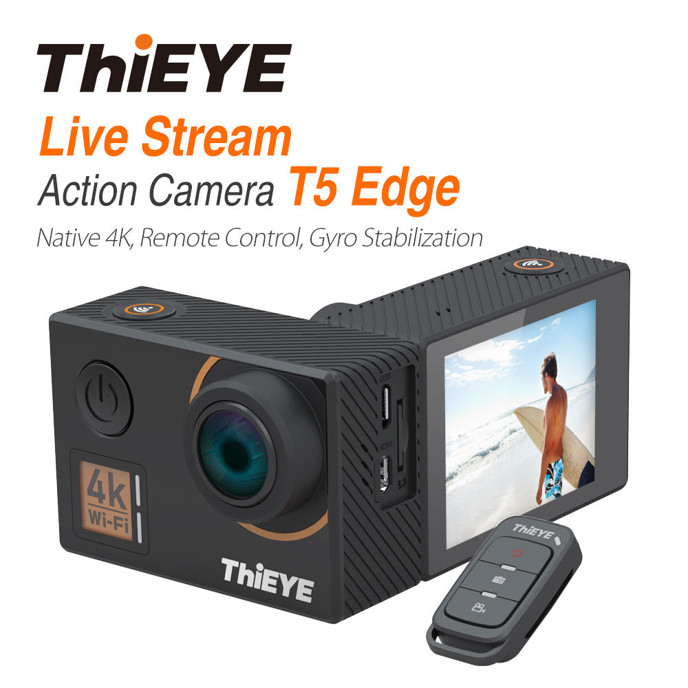 ThiEYE T5 Edge Action Camera With Live Stream Cam Real 4K Action Cam With Gyro Stabilizer Remote Control Waterproof Sport Camera