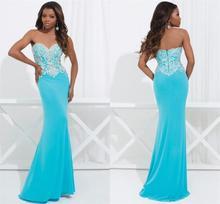 Neue Jahr Hot Blau Liebsten Vestidos weg von der Schulter Appliques Abend Party Kleid sleeveless kleine Meerjungfrau Satin Schönheit Kleid