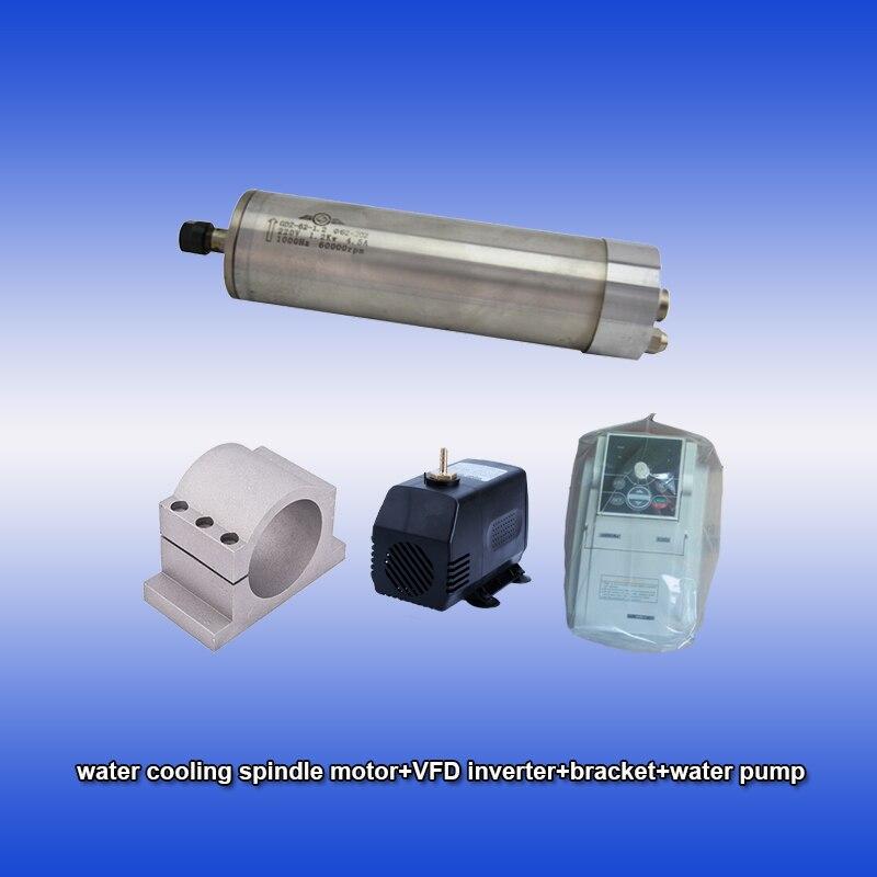 60000 rpm 1.2kw água de resfriamento spindle motor & SUNFAR 1.5KW 1 ER11 1.5hp fase 220 v inversor & bracket & bomba de kits CNC
