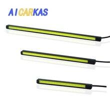 AICARKAS רכב DRL ערפל רצועת בשעות היום ריצת מנורת COB לבן Ultra Slim LED חניה ערפל בר Waterproo 12V 10cm 15cm 20cm