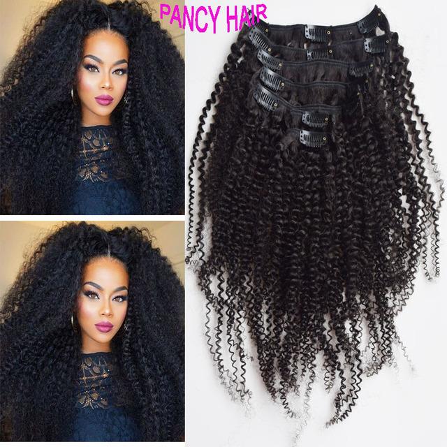 Hermoso pelo rizado afro rizado virginal pinza de pelo brasileño en 7 unids/set negro clip en extensiones de cabello cabello humano real 100 g/set