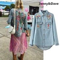 Jenny&Dave denim blouse women vintage harajuku floral embroidery boyfriend denim shirt blusas mujer de moda 2018 tops plus size