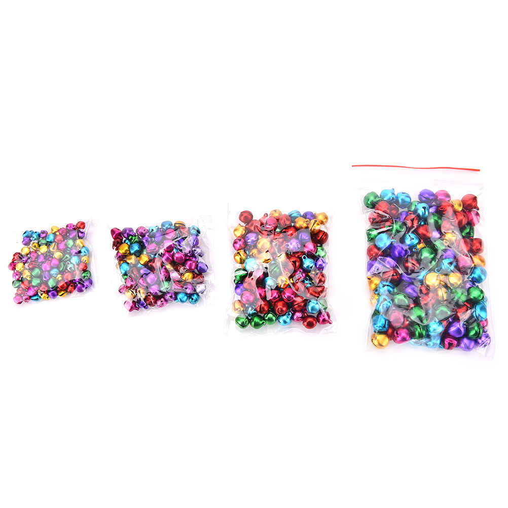 DIY Crafts 100pcs Colorful Loose Beads Small Jingle Bells Christmas Decoration Pendants  Handmade Accessories 6/8/10/12mm