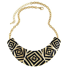 Free Shipping Fashion Women Romantic Vintage Charms Chunky Black Enameling Stone Pendant Chain Statement Necklaces Retro Jewelry