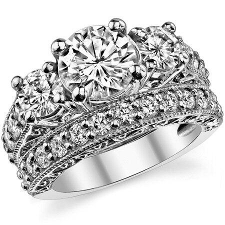 1 Carat Diamond Bridal Jewelry ASCD Lab Grown Diamond 9K White Gold Diamond Engagement Ring Three Stone Diamond Wedding Set