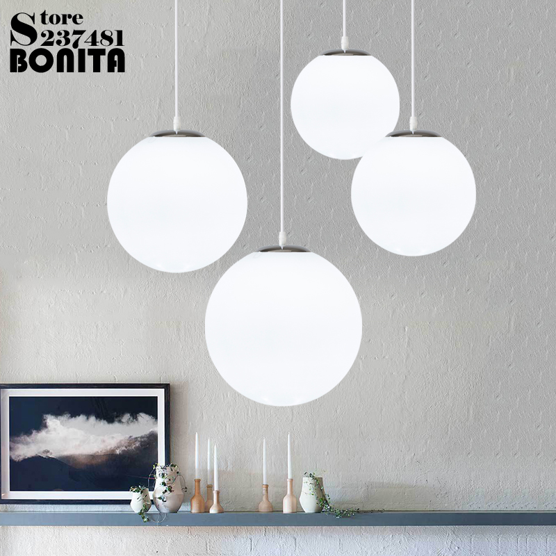 Cord Pendant Lamp Modern Minimalist Creative Spherical Hanging Lights Bedroom Milky White Ball Pendant Lighting Glass Shades