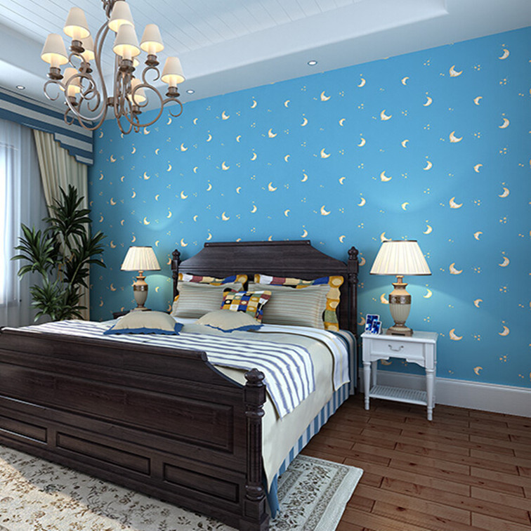 Sky blue color moon face romantic children bedroom non for Wallpaper colors for bedroom