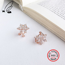 925 Sterling Silver Rose Gold Color Clip Earrings With Flower Shape With Mosaic AAA Zircon For Women Classic Fine Jewelry Gifts ska single earrings for women bat lotus flower jewelry monaco style aaa zircon gold color women drop earrings ae10597xply